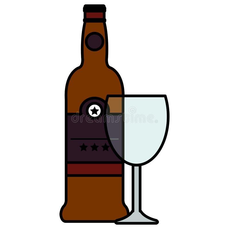 Vinflaska med koppen royaltyfri illustrationer