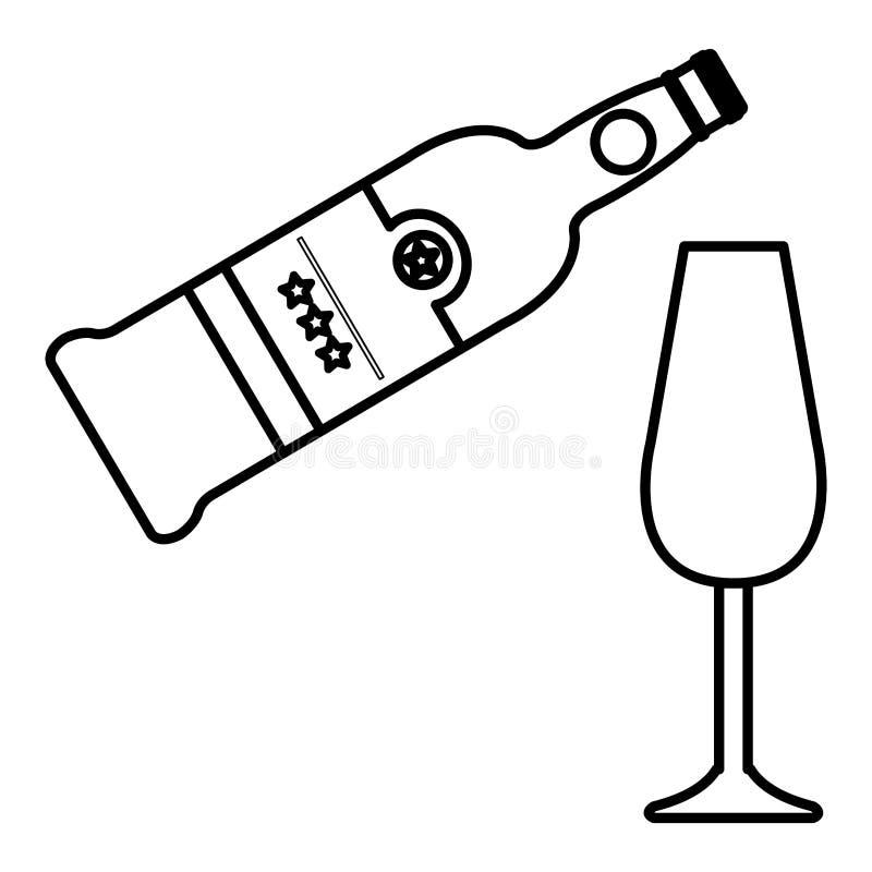 Vinflaska med koppen vektor illustrationer