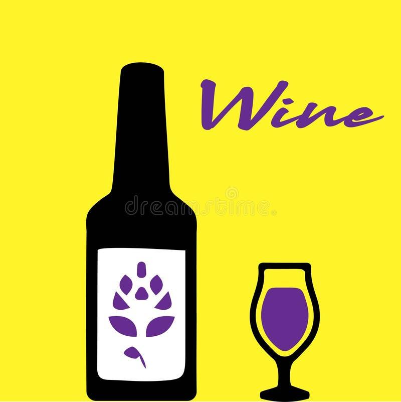 Vinflaska med symbolen f?r vinexponeringsglas som isoleras p? vit bakgrund ocks? vektor f?r coreldrawillustration vektor illustrationer