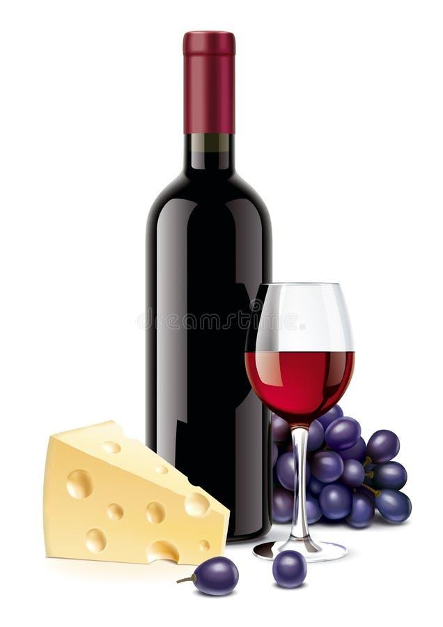 Vinflaska, ost, druvor och vinglas royaltyfri illustrationer