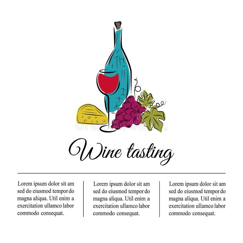 Vinflaska, vinexponeringsglas, druva och ost Hand dragit begrepp royaltyfri illustrationer