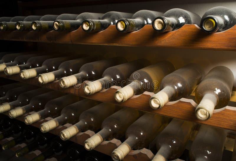 Vinflaskor på hylla royaltyfri bild