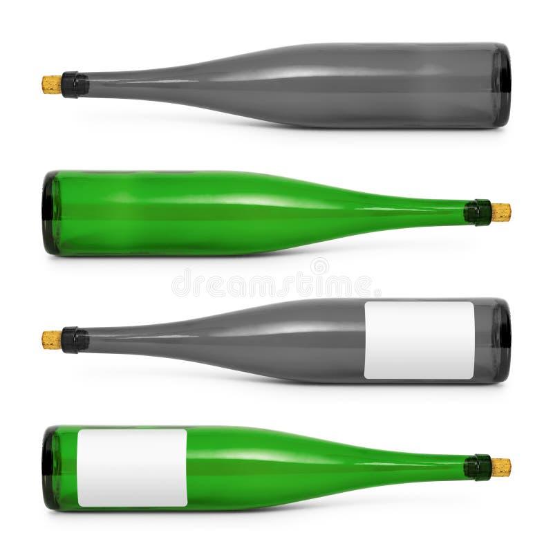 Vinflaskor som isoleras p? vit bakgrund Dryckbeh?llare i l?ng form med den tomma etiketten Snabb bana stock illustrationer