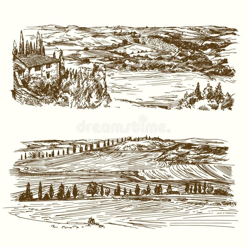 Vingård jordbruks- liggande stock illustrationer