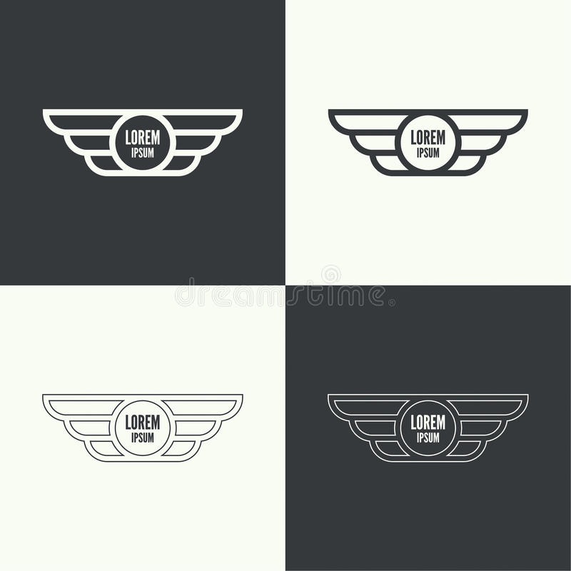 vingar för emblemillustrationvektor stock illustrationer