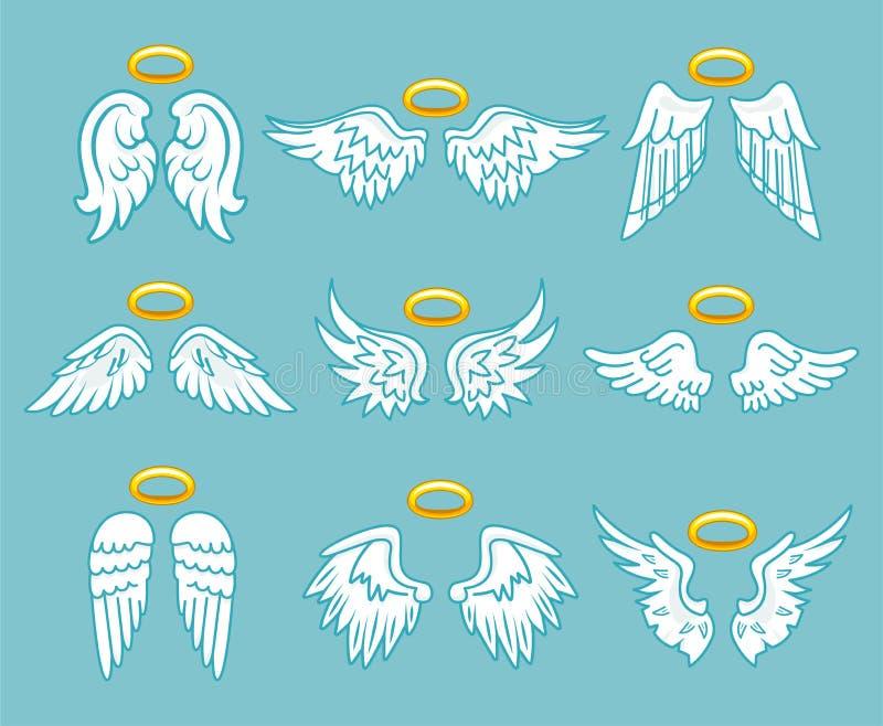 Vingar för vit fjäder för ängel med den nimbus uppsättningen royaltyfri illustrationer
