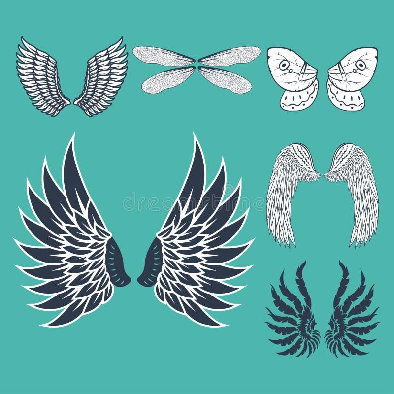 Vingar isolerad naturlig fred för djurt för fjäderdrevfågel flyg för frihet planlägger vektorillustrationen royaltyfri illustrationer