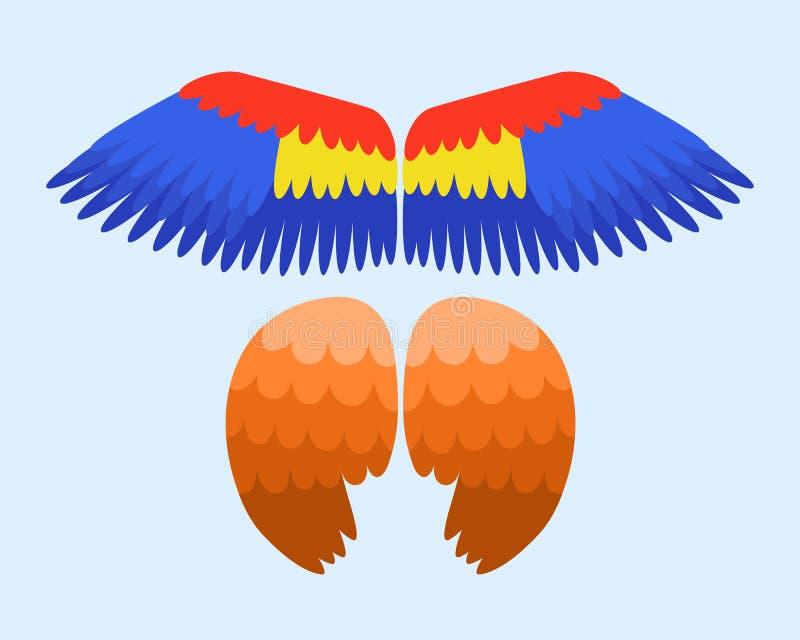 Vingar isolerade djurblått befjädrar flyg för drevfågelfrihet och den naturliga örnen för beståndsdel för flyg för design för hök vektor illustrationer