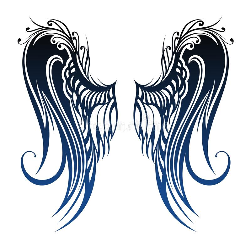 Vingar. Tatueringdesign royaltyfri illustrationer