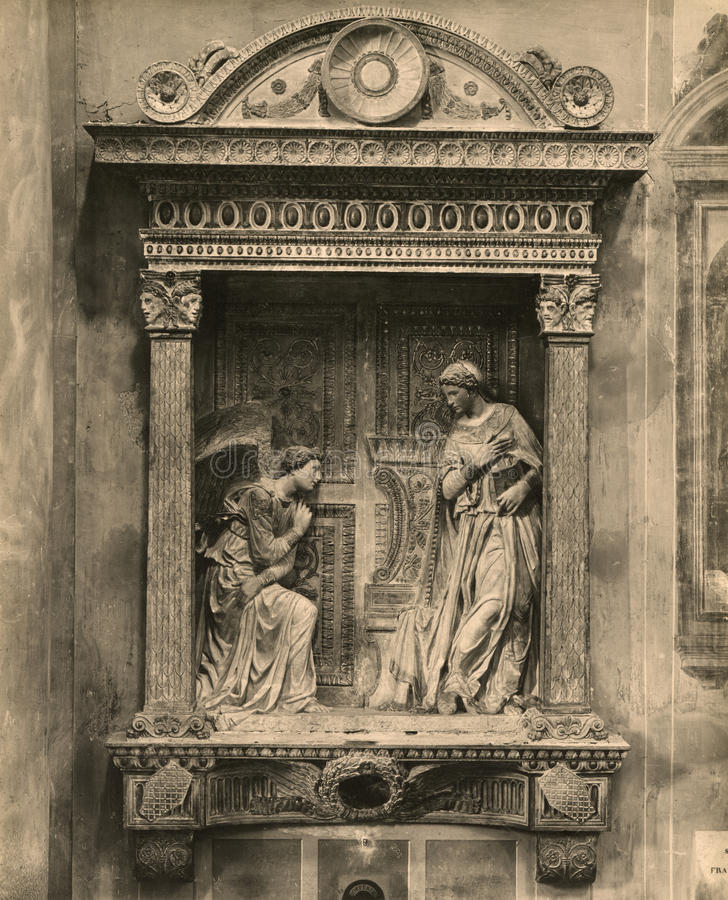 Vingate Photo 1880-1930 Cavalcanti Annunciation is a work of Donatello in stone gilded and partly polychrome royalty free stock image