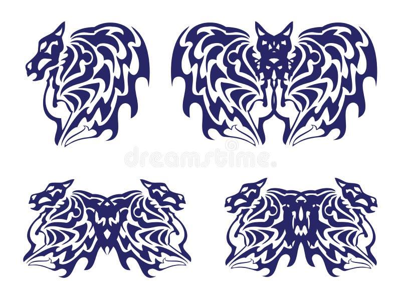 Vinge av en häst, ett slagträ och en fjäril med hästhuvuden stock illustrationer