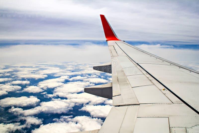 Vingen av flygplanet över molnet royaltyfria foton