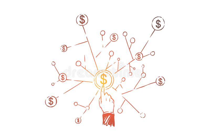 Vinger die op dollarsymbool richten, dynamische structuur, geldbeheer, effectenbeurs die, bedrijfsnetwerk handel drijven stock illustratie