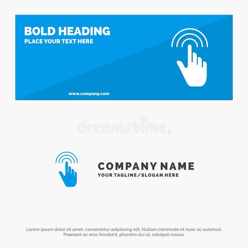 Vinger, Gebaren, Hand, Interface, de Websitebanner en Zaken Logo Template van het Kraan Stevige Pictogram stock illustratie