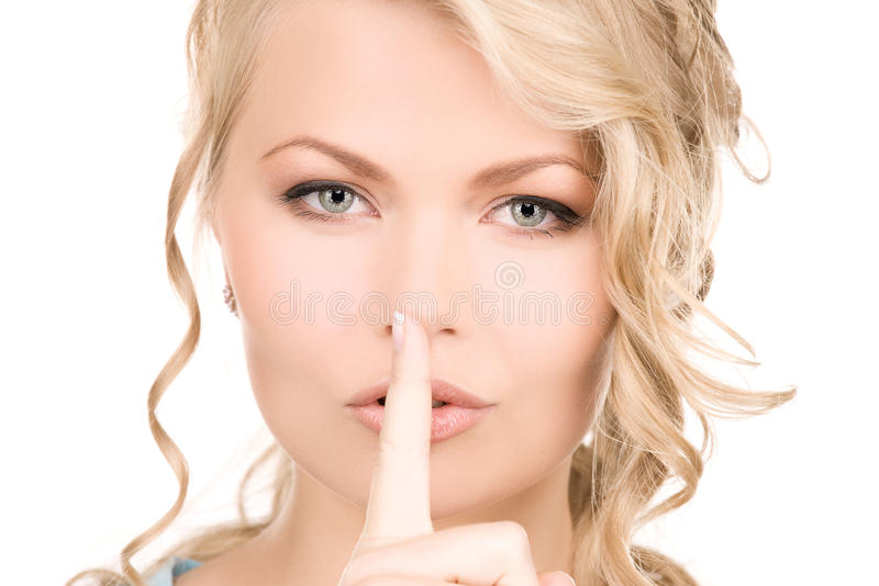 Vinger op lippen stock foto's