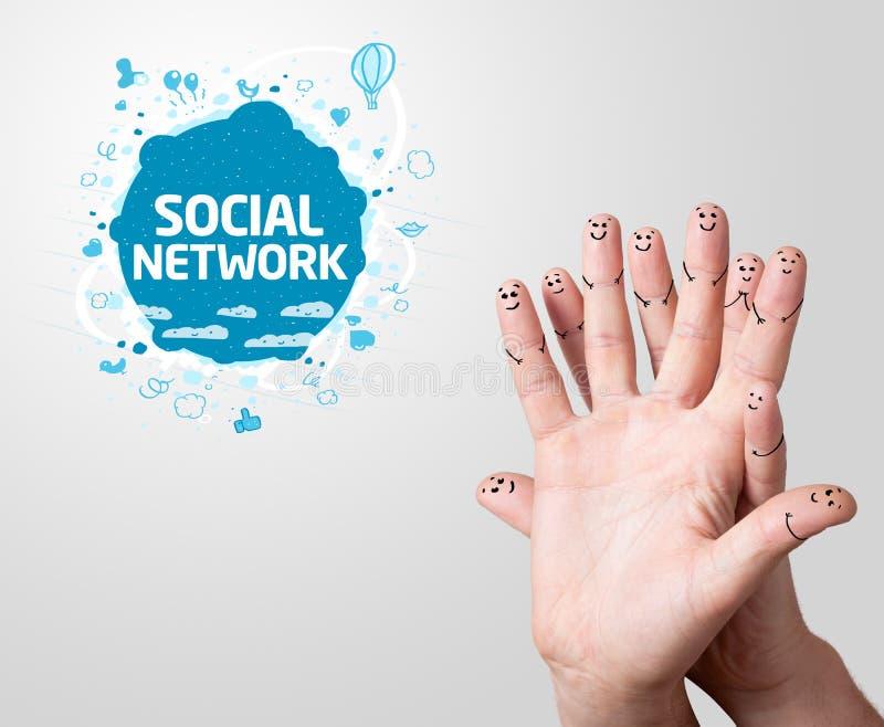 Vinger smileys met sociaal netwerkteken stock illustratie