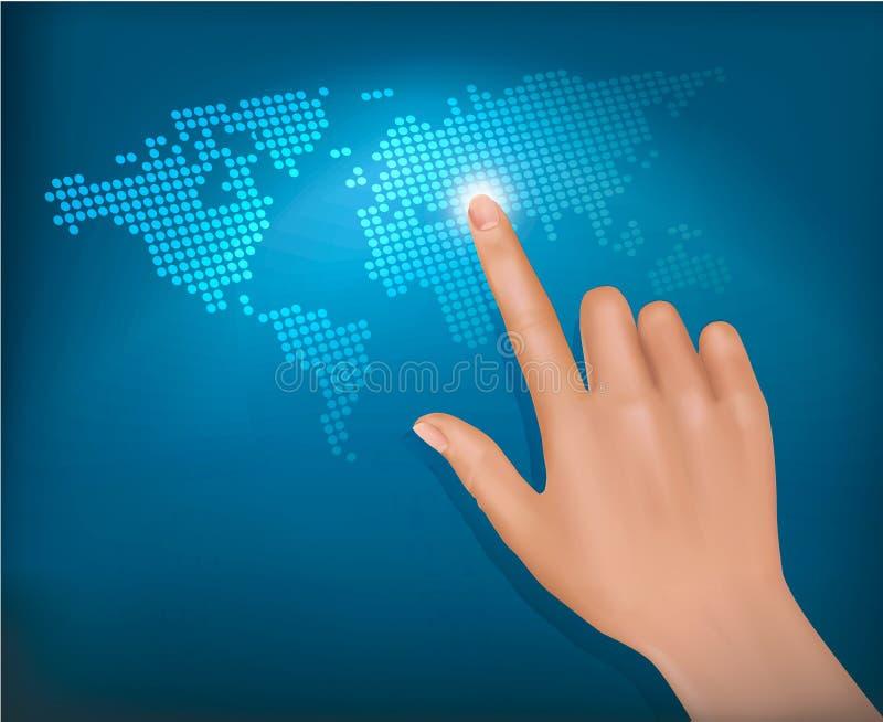 Vinger wat betreft wereldkaart op het aanrakingsscherm. royalty-vrije illustratie