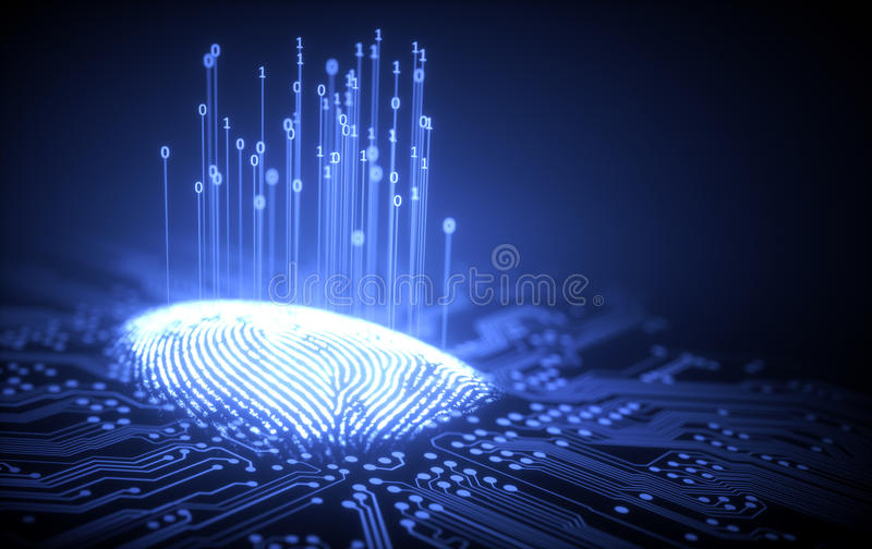 Vingerafdruk Binaire Microchip vector illustratie