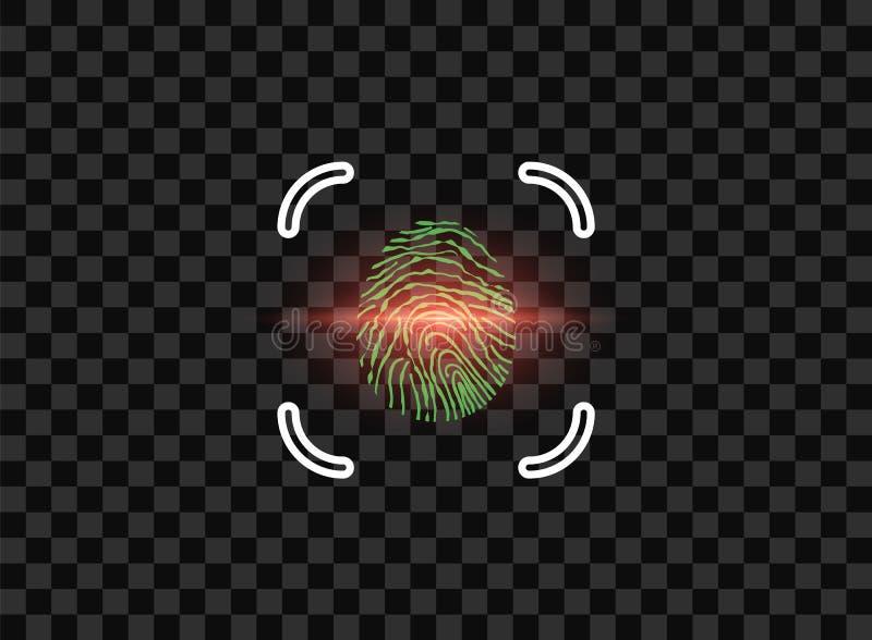 Vingerafdruk, elektronische identificatie met kader, laseraftasten moderne laptop die op witte achtergrond wordt geïsoleerdd Vect royalty-vrije illustratie