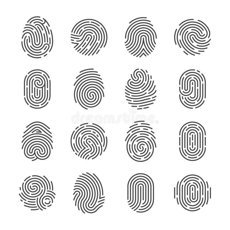 Vingerafdruk gedetailleerde pictogrammen De duim vectorsymbolen van de politiescanner De pictogrammen van de veiligheidsidentitei stock illustratie