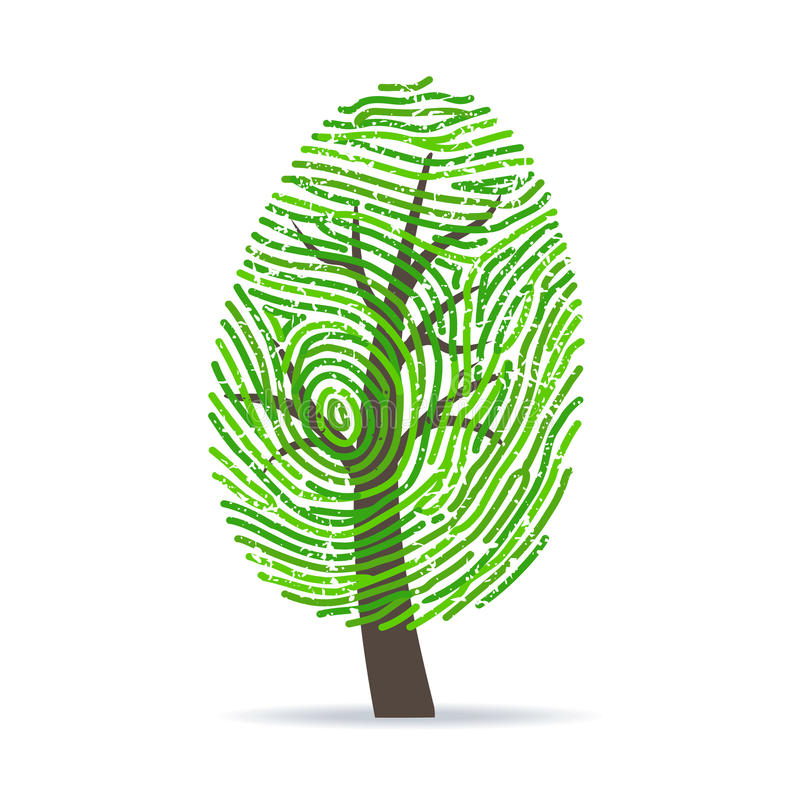 Vingerafdruk groene boom royalty-vrije illustratie