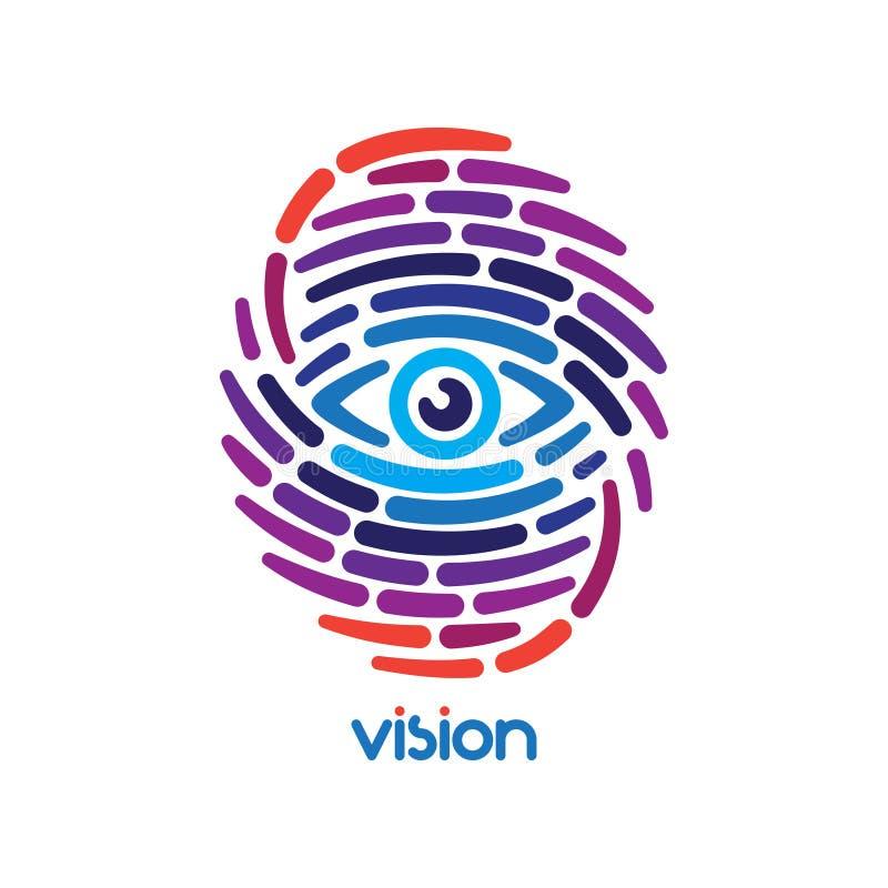 Vingerafdruk met oog vector illustratie