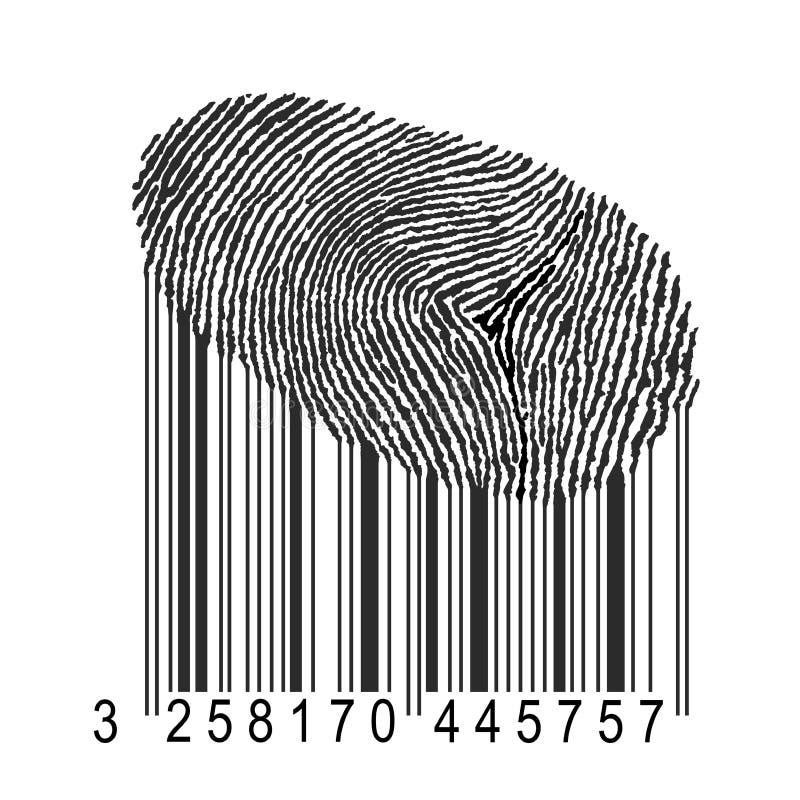 Vingerafdruk met streepjescode royalty-vrije illustratie