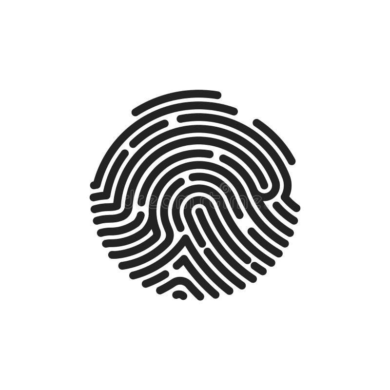 Vingerafdruk vlak aftasten Het pictogramontwerp van de cirkelvingerafdruk voor toepassing Vector illustratie die op witte achterg royalty-vrije illustratie