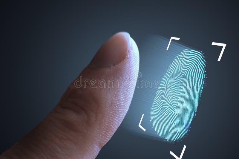 Vingerafdrukaftasten van vinger Technologie, veiligheid en biometrisch concept stock fotografie