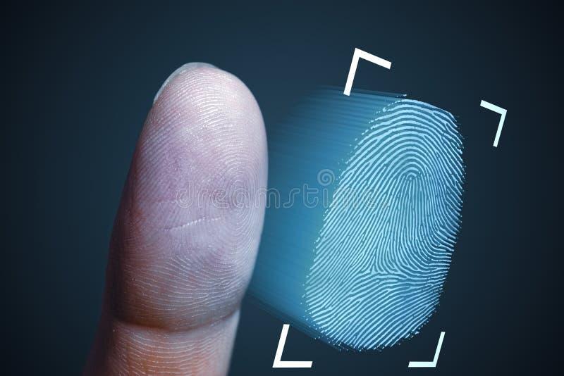 Vingerafdrukaftasten van vinger Technologie, veiligheid en biometrisch concept stock afbeelding