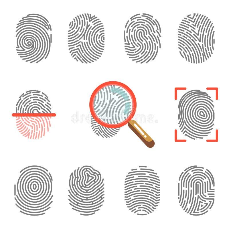 Vingerafdrukken of de identificatiescanner van de vingertopdruk en meer magnifier vectorpictogrammen stock illustratie