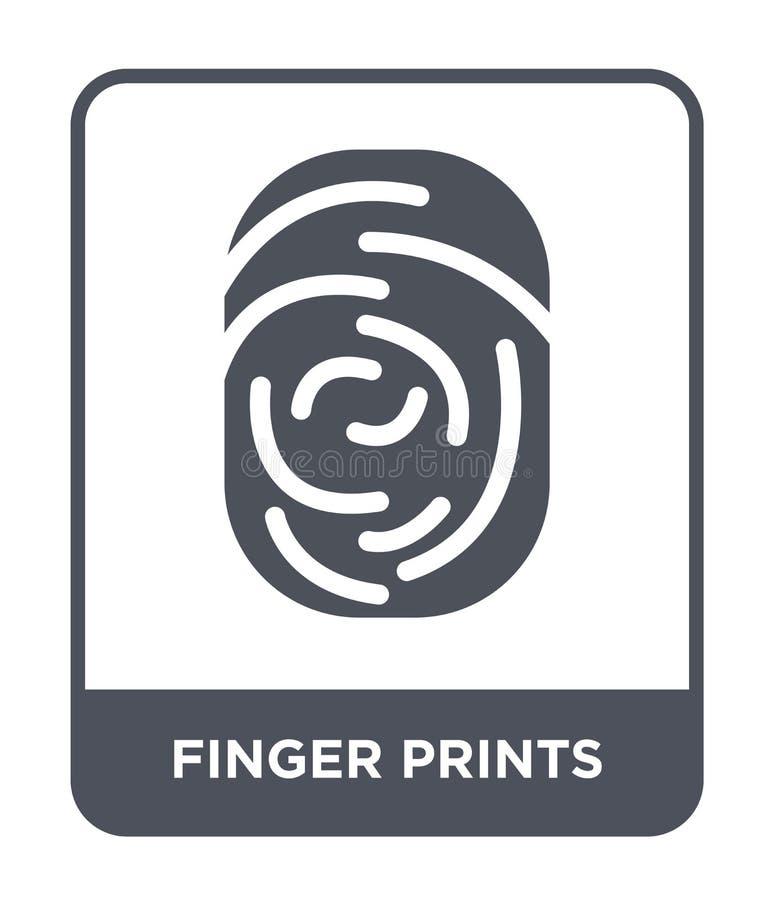 vingerafdrukkenpictogram in in ontwerpstijl vingerafdrukkenpictogram op witte achtergrond wordt geïsoleerd die eenvoudig vingeraf vector illustratie