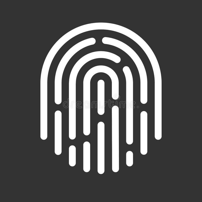 Vingerafdrukpictogram Het symbool van de aanrakingsbescherming Beveilig identificatieteken royalty-vrije illustratie