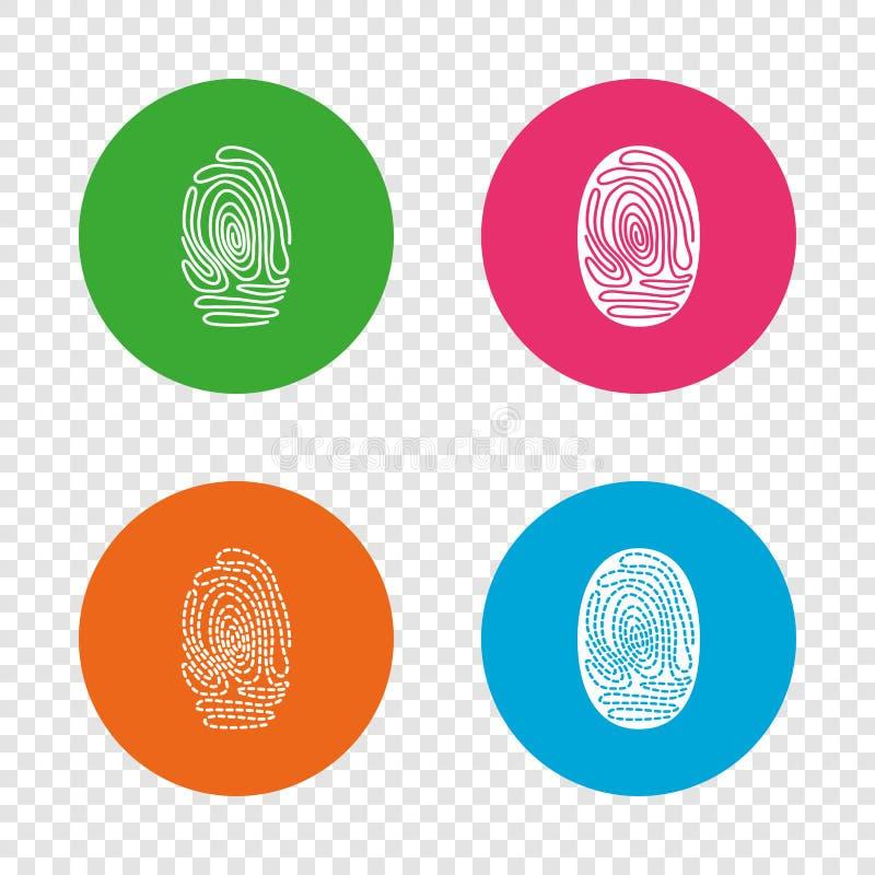 Vingerafdrukpictogrammen Identificatietekens stock illustratie