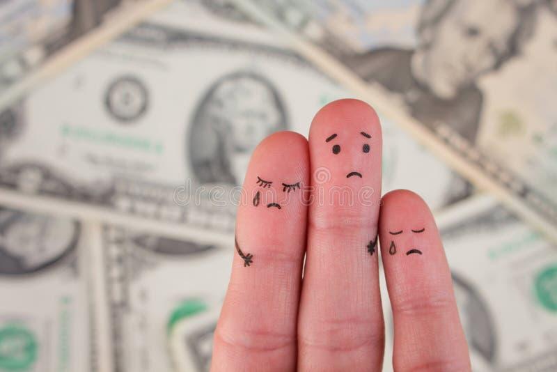 Vingerkunst van ontstemde familie op achtergrond van geld stock afbeelding