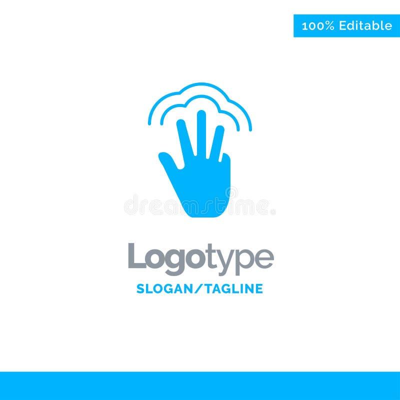 Vingers, Gebaren, Hand, Interface, Veelvoudige Aanraking Blauw Stevig Logo Template Plaats voor Tagline stock illustratie