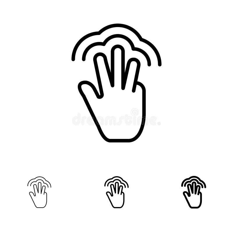 Vingers, Gebaren, Hand, Interface, Veelvoudige het pictogramreeks van de Aanrakings Gewaagde en dunne zwarte lijn vector illustratie