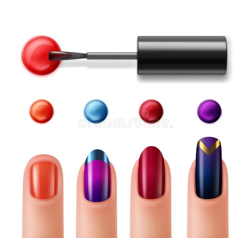 Vingers met manicure stock illustratie