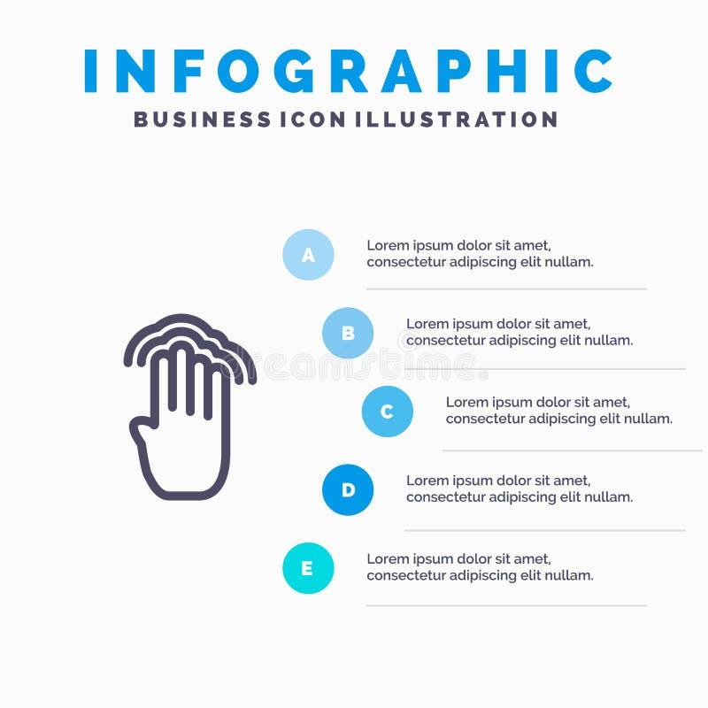 Vingers, Vier, Gebaren, Interface, het Veelvoudige pictogram van de Kraanlijn met infographicsachtergrond van de 5 stappenpresent vector illustratie