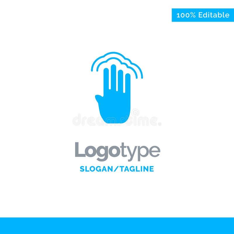 Vingers, Vier, Gebaren, Interface, Veelvoudige Kraan Blauw Stevig Logo Template Plaats voor Tagline stock illustratie