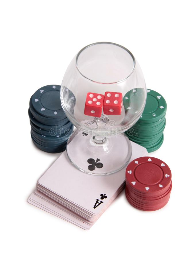 Vinglas och kasino fyra royaltyfri bild