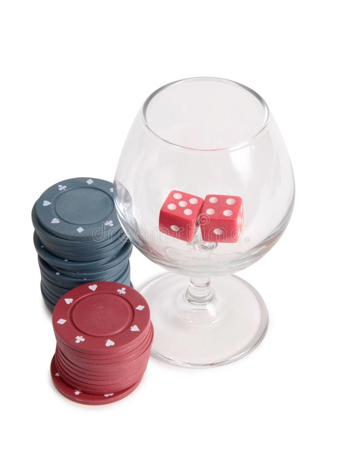 Vinglas och kasino två arkivbilder