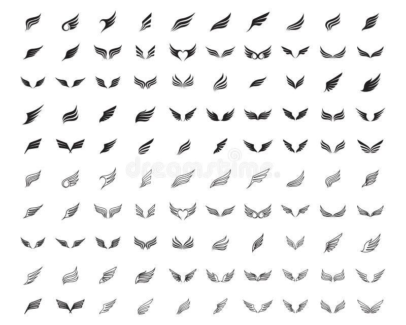 Vinglogo och fastställd linje 100 vektorer för symbolaffärsmall stock illustrationer