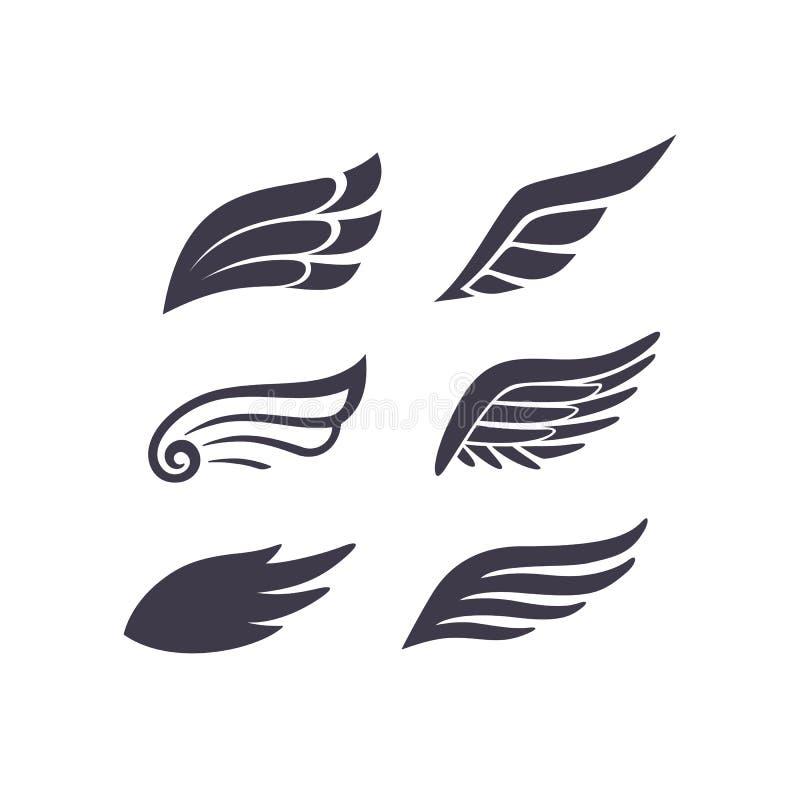 Vings silhouetteert Vectorreeks Gestileerde Elementen voor Embleem, Etiket en Kentekenontwerpen vector illustratie