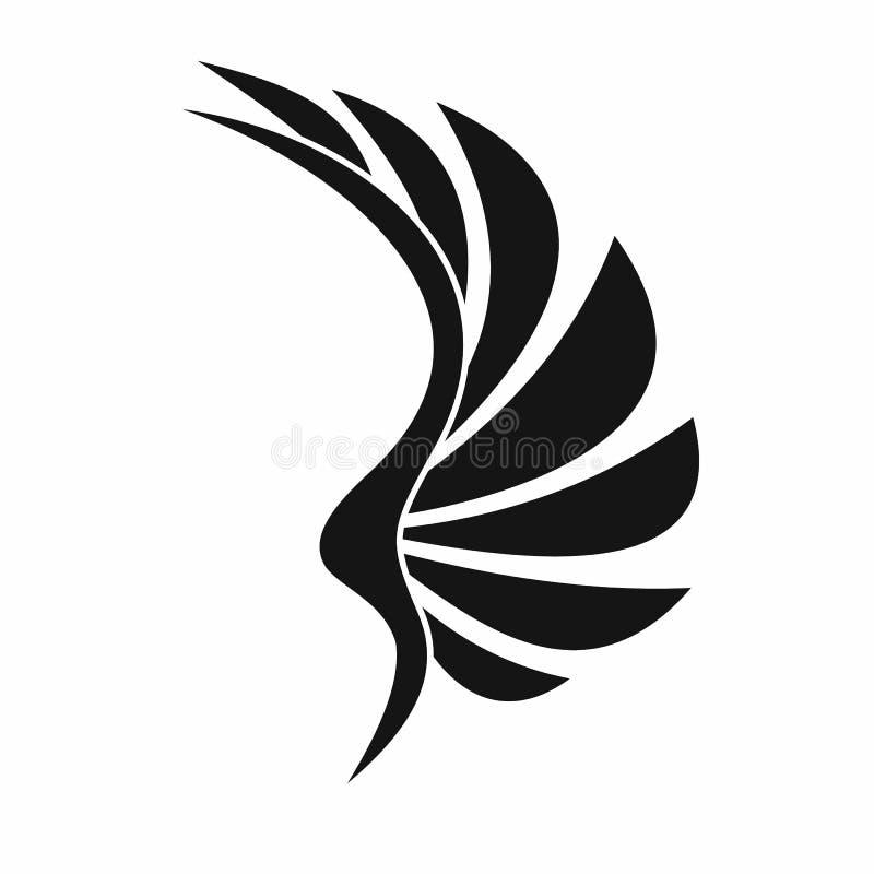 Vingsymbol, enkel stil royaltyfri illustrationer