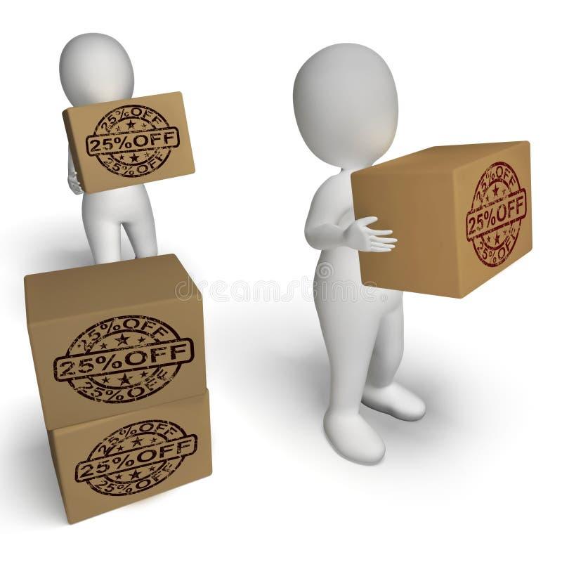 Vingt-cinq pour cent outre de prix inférieur de l'exposition 25 de boîtes illustration stock