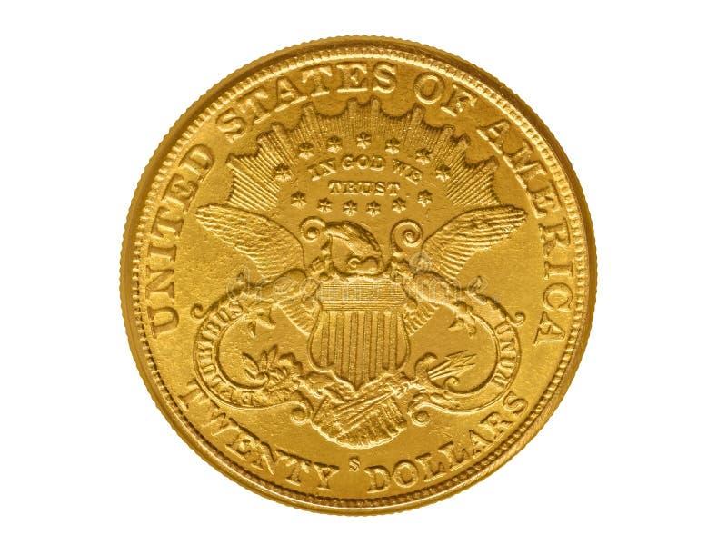 Vingt dollars de pièce d'or à partir de 1882 photos stock