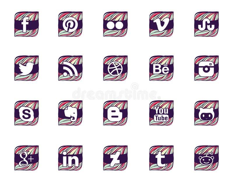 Vingt icônes sociales dans le style onduleux images libres de droits