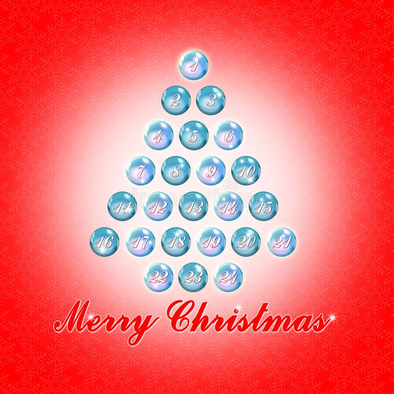 Vingt-quatre jours jusqu'à Noël - image de concept avec l'arbre de Noël photos stock