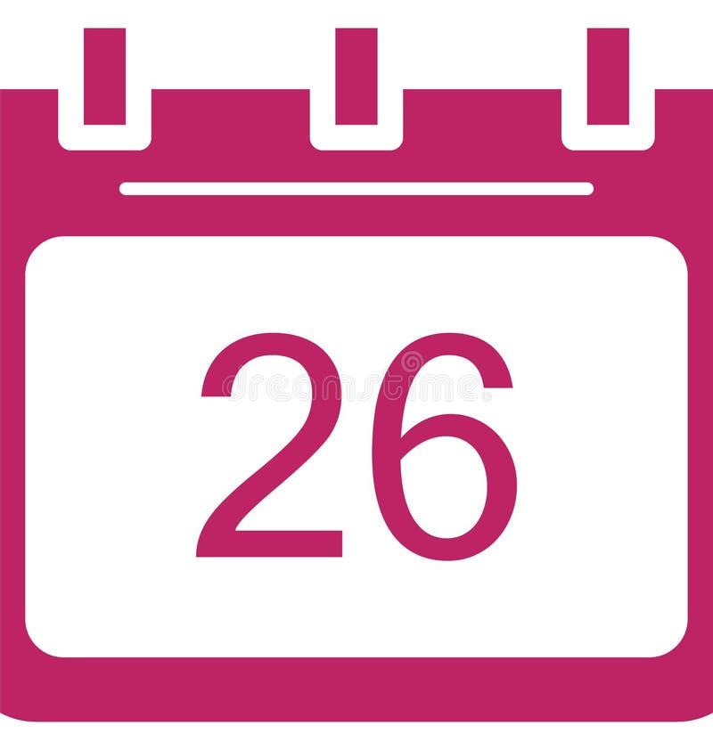Vingt-six, vingt-sixième icône de vecteur de jour d'événement spécial qui peut être facilement modifiée ou éditée illustration libre de droits